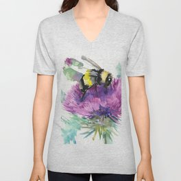 Bumblebee and Thistle Flower, Unisex V-Neck