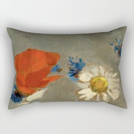 """Odilon Redon """"Pichet au Coquelicot et a la Marguerite"""" Rectangular Pillow"""