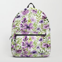 Watercolor/Ink Purple Floral Painting Backpack