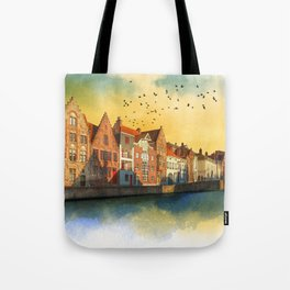 Landscape with beautiful medieval houses and canals. Bruges, Belgium. Tote Bag