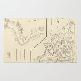 Vintage Map of Hampton Beach NH (1892) Rug
