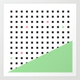 Squares Pattern Dipped in Green Art Print