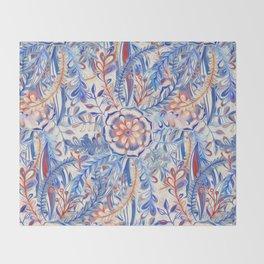 Boho Flower Burst in Red and Blue Throw Blanket