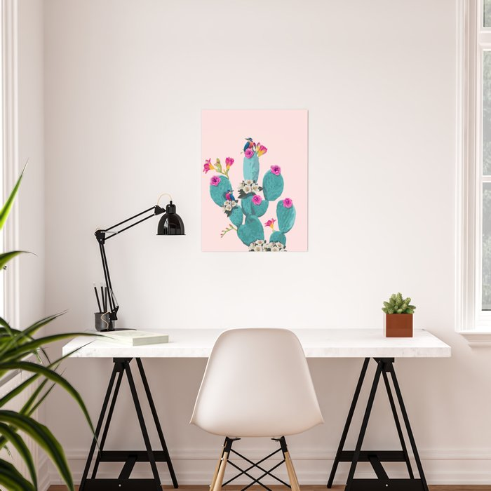Cactus Hummingbirds Poster