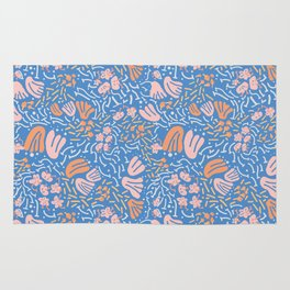 light&line: pastel flower, illustrated pattern in bright, vibrant color. Rug