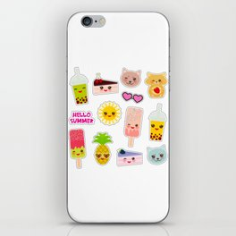 Hello Summer. Pineapple, cherry smoothie cup, ice cream, sun, cat, cake, hamster. Kawaii cute face. iPhone Skin
