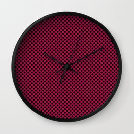 Cerise and Black Polka Dots Wall Clock