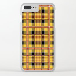 Yellow plaid Clear iPhone Case