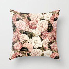 Vintage & Shabby floral camellia flowers watercolor pattern Throw Pillow