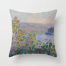 Flower Beds at Vetheuil by Claude Monet Throw Pillow