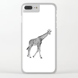 Giraffe Ink Illustration Clear iPhone Case