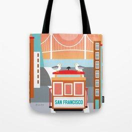 San Francisco, California - Skyline Illustration by Loose Petals Tote Bag