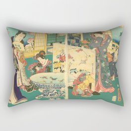 Spring Outing In A Villa Diptych #2 by Toyohara Kunichika Rectangular Pillow