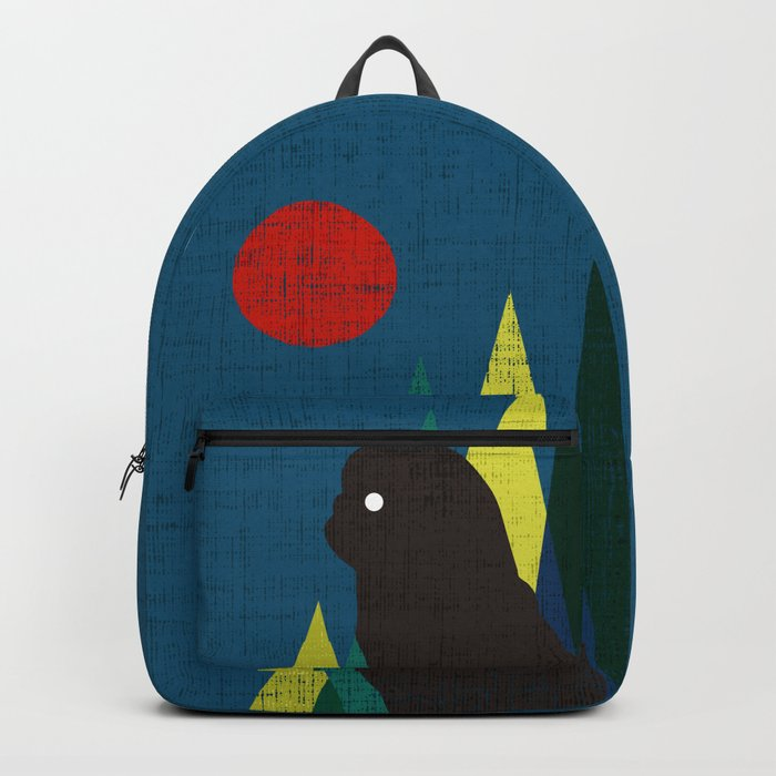 Waiting for you Black Pug Backpack