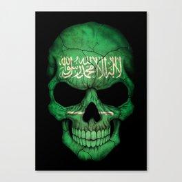 Dark Skull with Flag of Saudi Arabia Canvas Print