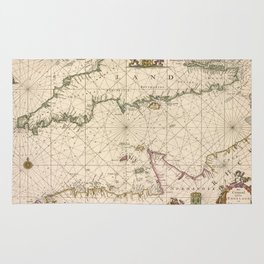Vintage Map of The English Channel (1672) Rug
