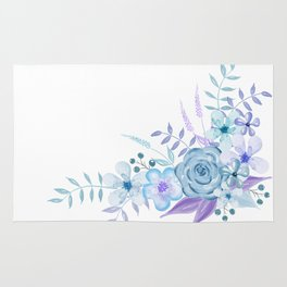 Watercolor Flowers Blue and Purple Rug