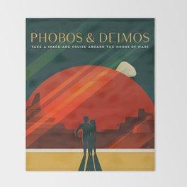 Vintage Adventure Travel Phobos and Deimos Throw Blanket