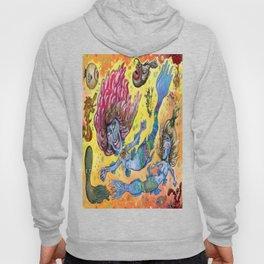Blue-Finned Mermaids watercolor Hoody