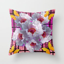BUTTERFLIES MODERN WHITE TREE PEONY FLOWERS CORAL ART Throw Pillow