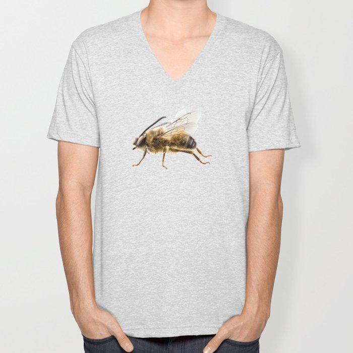 Bee species Eucera longicornis common name Solitary miner bee Unisex V-Neck