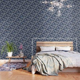 Dragonflies, Butterflies and Moths With Plants on Navy Wallpaper