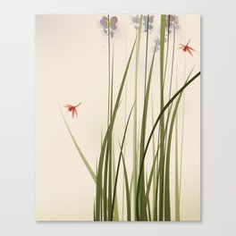 oriental style painting, tall grasses and flowers Canvas Print