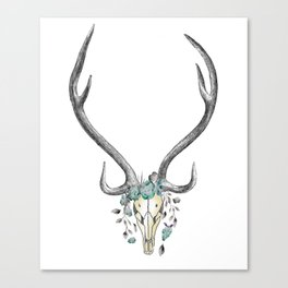 Floral Stag Skull Canvas Print