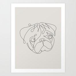 One Line Pug Art Print