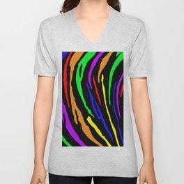 Rainbow Tiger Stripes Unisex V-Neck