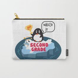 Second Grade, Nailed It - Cute Penguin, Kids Back To School, Graduation, First Day of School Carry-All Pouch