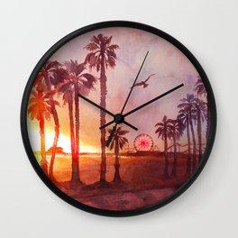 Sunset in Santa Monica Wall Clock