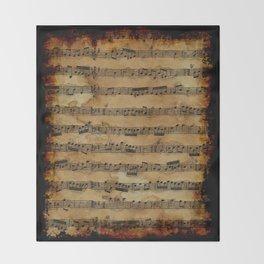Grunge Sheet Music Music-lover's Design Throw Blanket