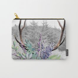 Floral Stag antlers b/w Carry-All Pouch