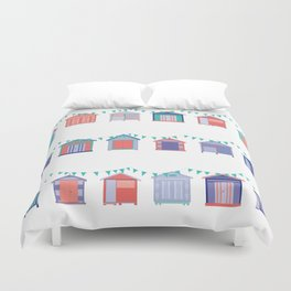 Summertime beach huts Duvet Cover