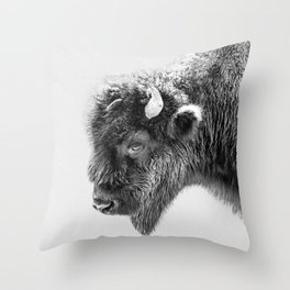 Animal Photography | Bison Portrait | Black and White | Minimalism Throw Pillow