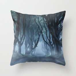 Very cold foggy morning at Dark Hedges Throw Pillow