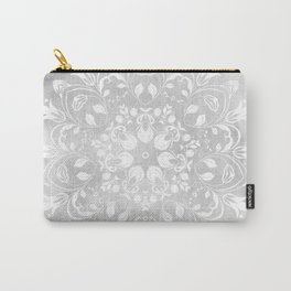 white on gray mandala design Carry-All Pouch