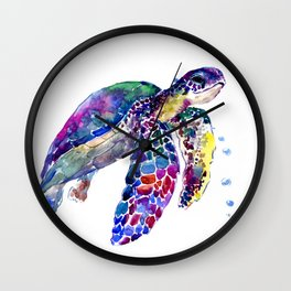 Sea Turtle Rainbow Colors Wall Clock