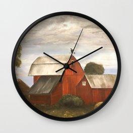 Red Barns Wall Clock