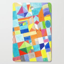Playful Colorful Architectural Pattern Cutting Board