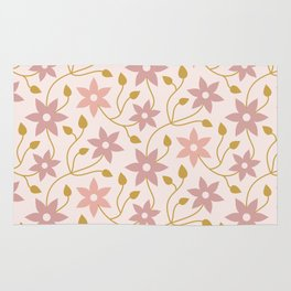 Blush Pink and Gold Floral Rug