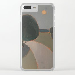 Moon over the road Clear iPhone Case