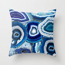 Agate Slices Art, Blue Agate, Mid Century Art, Gemstones Throw Pillow