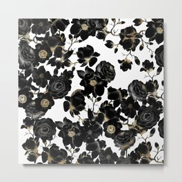Modern Elegant Black White and Gold Floral Pattern Metal Print