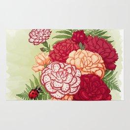Full bloom | Ladybug carnation Rug