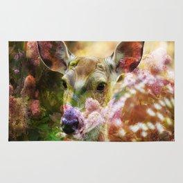 Fawn Peeking Through The Lilac Bushes By Annie Zeno Rug