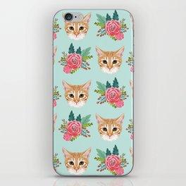 Tabby cat florals flowers must have cat themed gifts pet portrait cat lady mint pastel cat art fur iPhone Skin