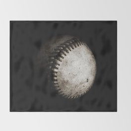 Battered Baseball in Black and White Throw Blanket