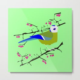 Blue tit with black eye Metal Print